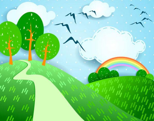 卡通自然风景贴纸矢量素材
