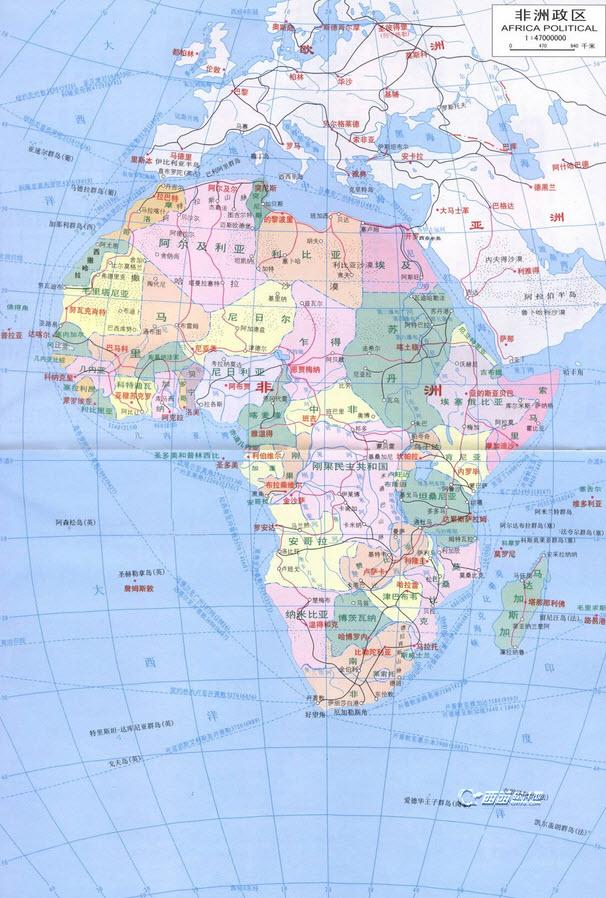 非洲地图高清中文版下载绿色版