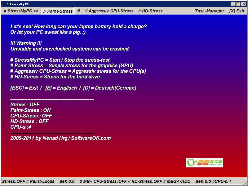 测试CPU和GPU性能压力(StressMyPC) V3.11 绿色免费版