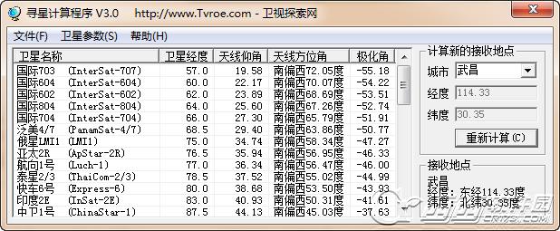 寻星计算程序(卫星天线寻星参数计算) v3.1 绿色版
