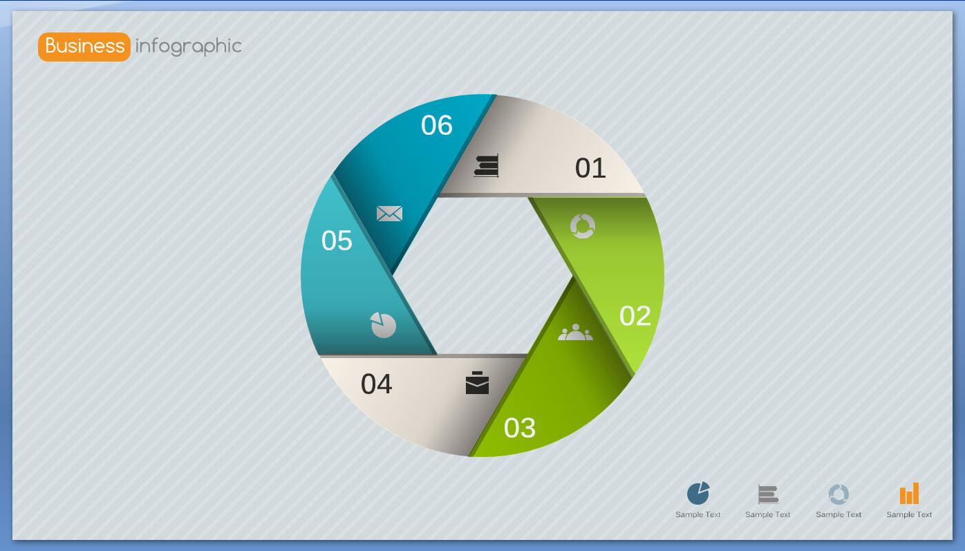 时尚微立体商务图表教程ppt模板