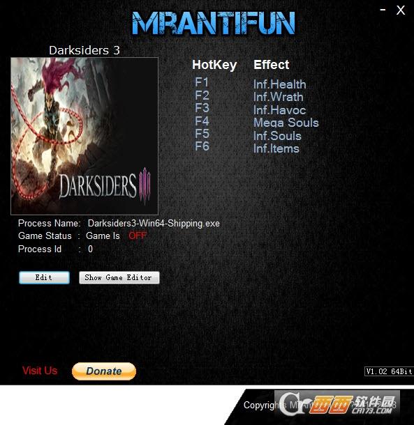暗黑血统3六项修改器 V1.00 MrAntiFun版
