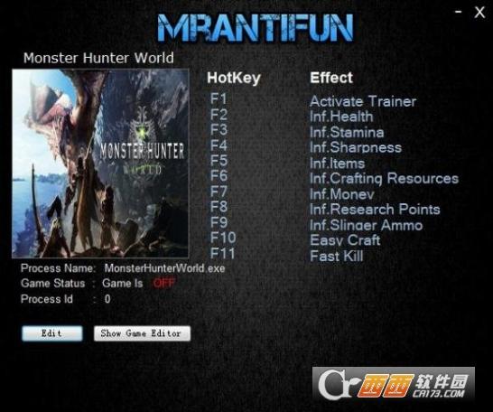 怪物猎人世界pc无限材料十项修改器 v1.0