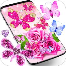 钻石蝴蝶粉红色动态壁纸